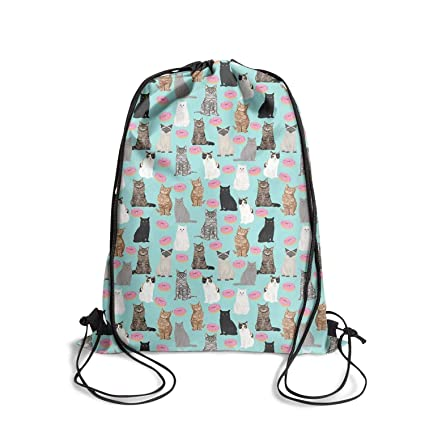 26b4459f9069 KylA Forster Drawstring Backpack Bags Blue cat Donut Waterproof Sport Gym  Sack Bags for Men