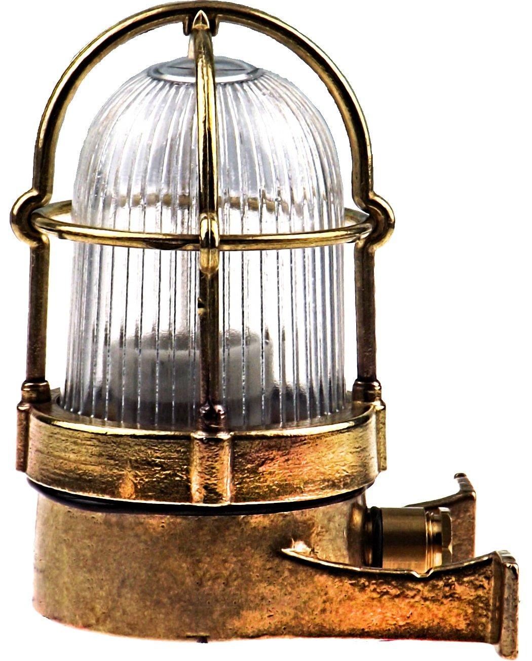 Stega Schiffslampe schiffsleuchten Gitter lampe aus massivem Messing wasserdichte Leuchter Licht lampe Nautische Marine Boot Wandlampe Industrielicht [Energieklasse A++] Kluci