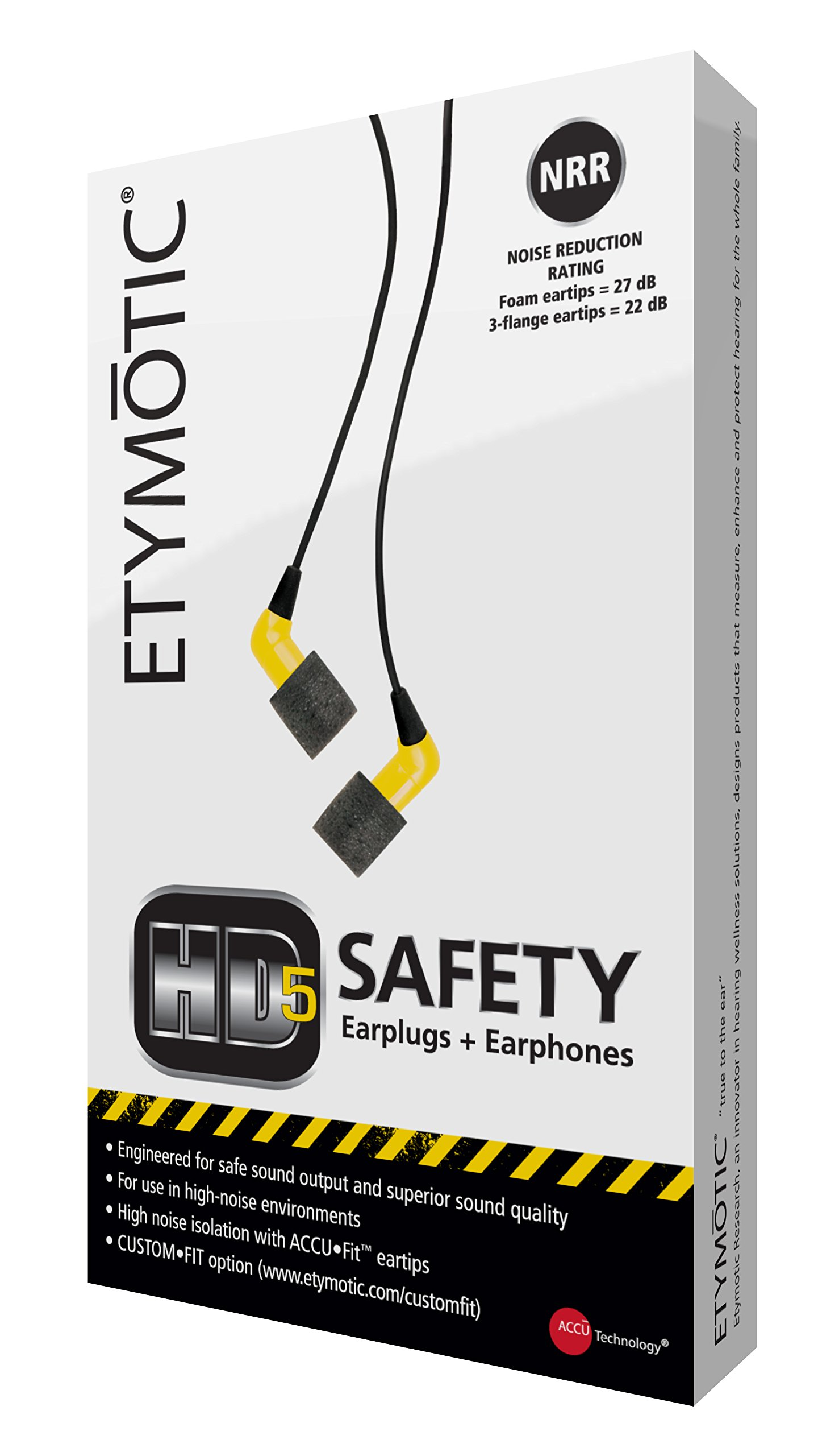 Etymotic HD5 Safety Headset and Earphones - Industrial Hearing Protection, Safe Listening Earphones, Yellow by Etymotic Research (Image #4)