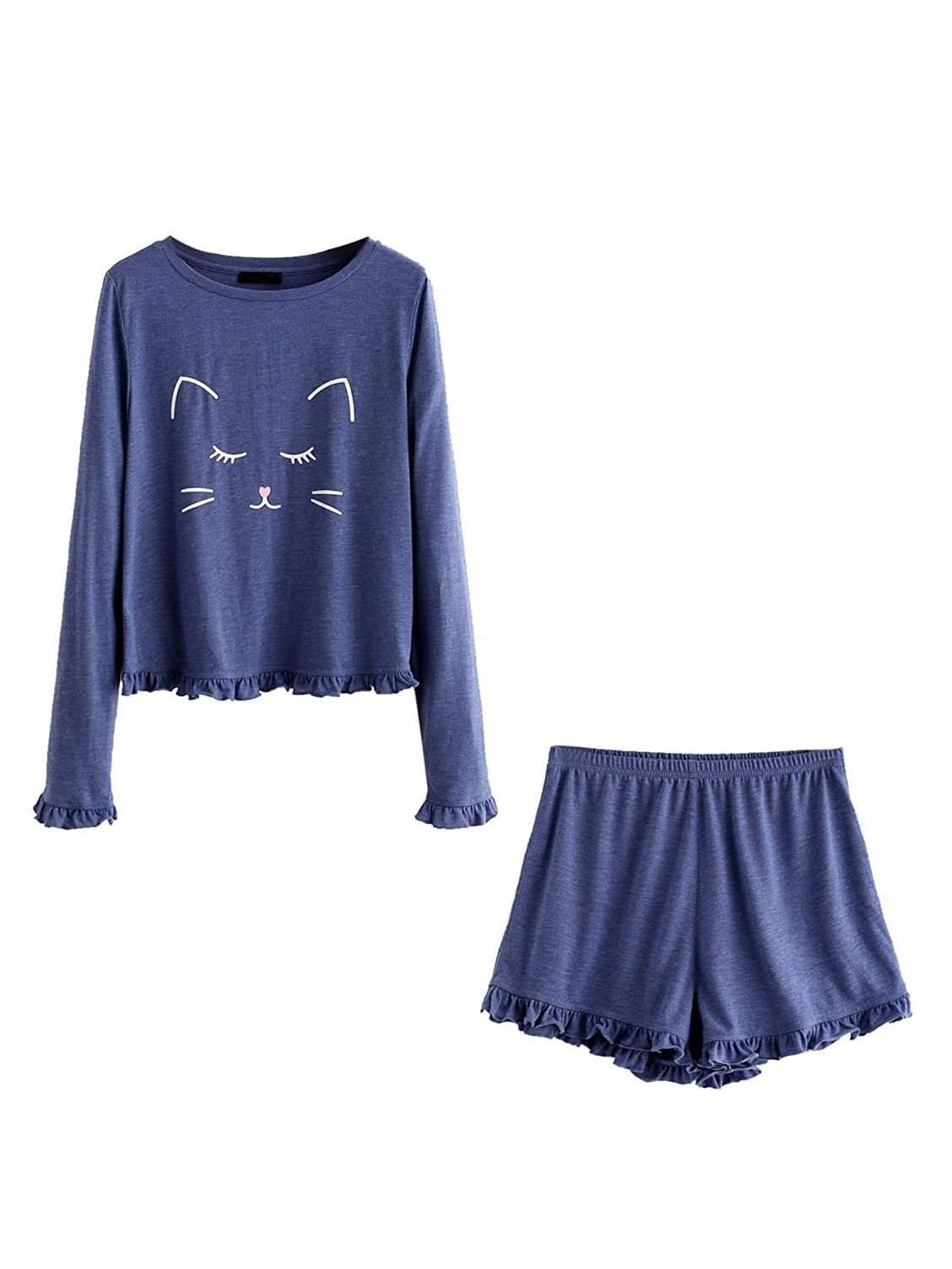 bluee DIDK Women's Cat Print Cuffed Top and Polka Dot Shorts Pajama Set
