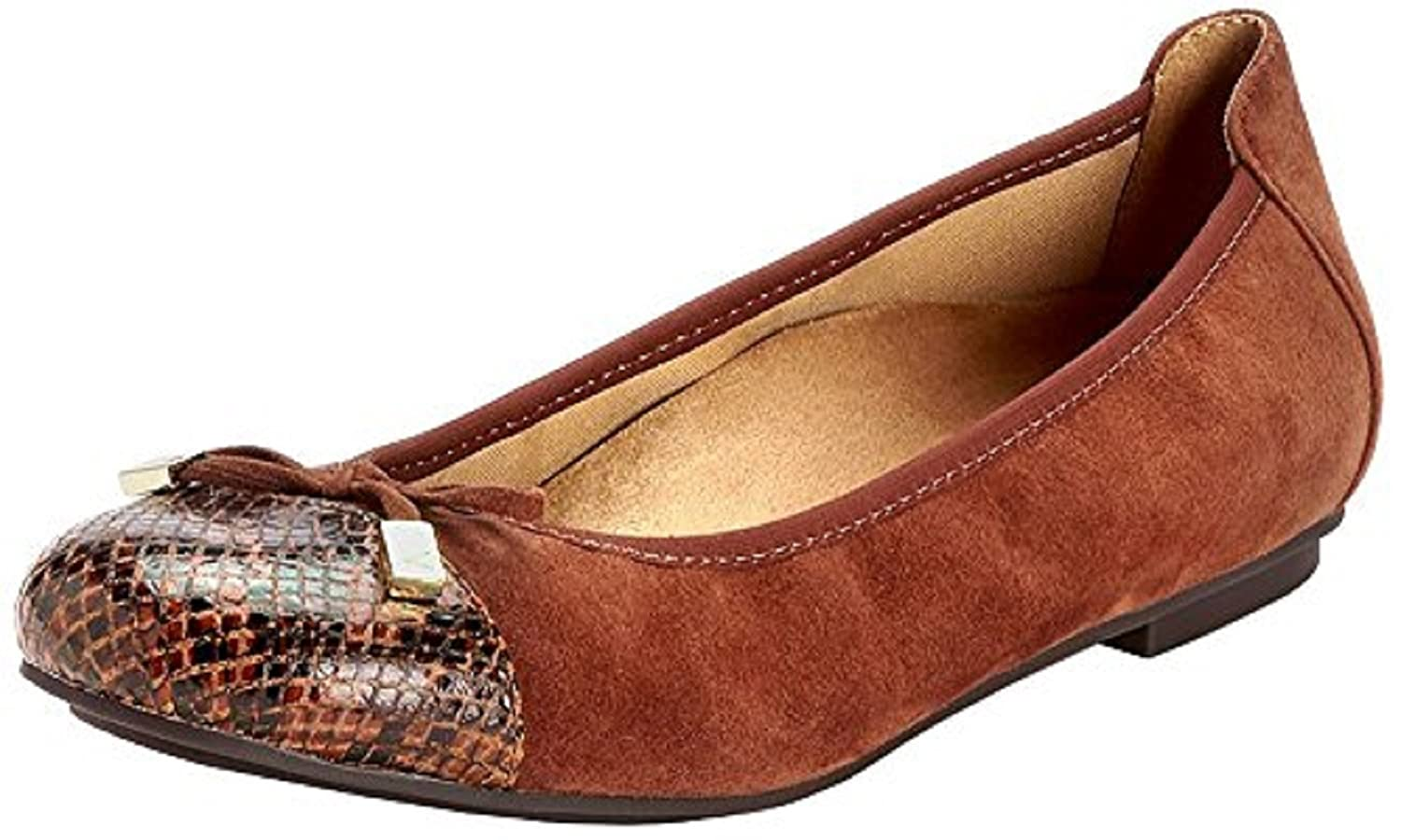 Vionic Women's Spark Minna Ballet Flat B01NALLNLY 11 B(M) US|Saddle Snake