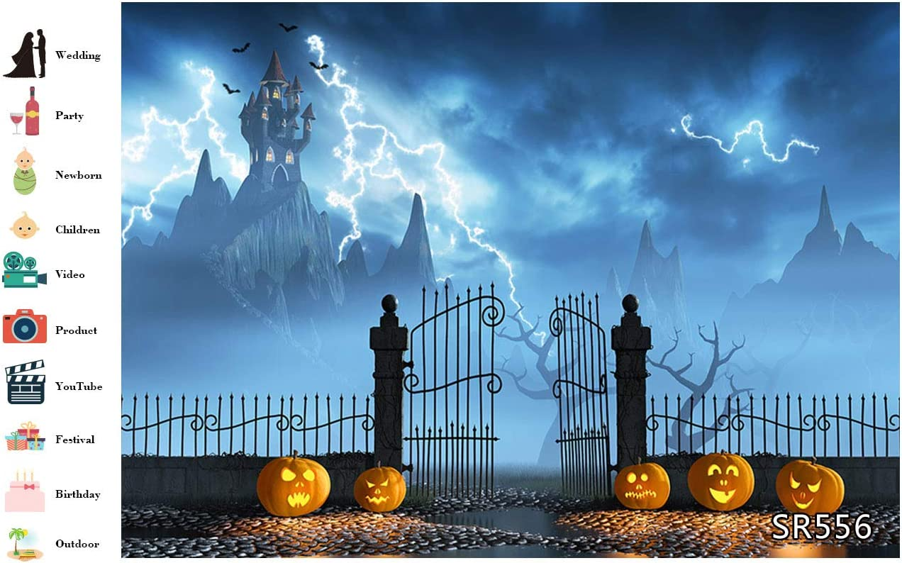 LB Halloween Pumpkin Lantern Backdrops for Photography Scary Lightning Flying Bat Photo Background for Kids 7x5ft Customized Photo Booth Props