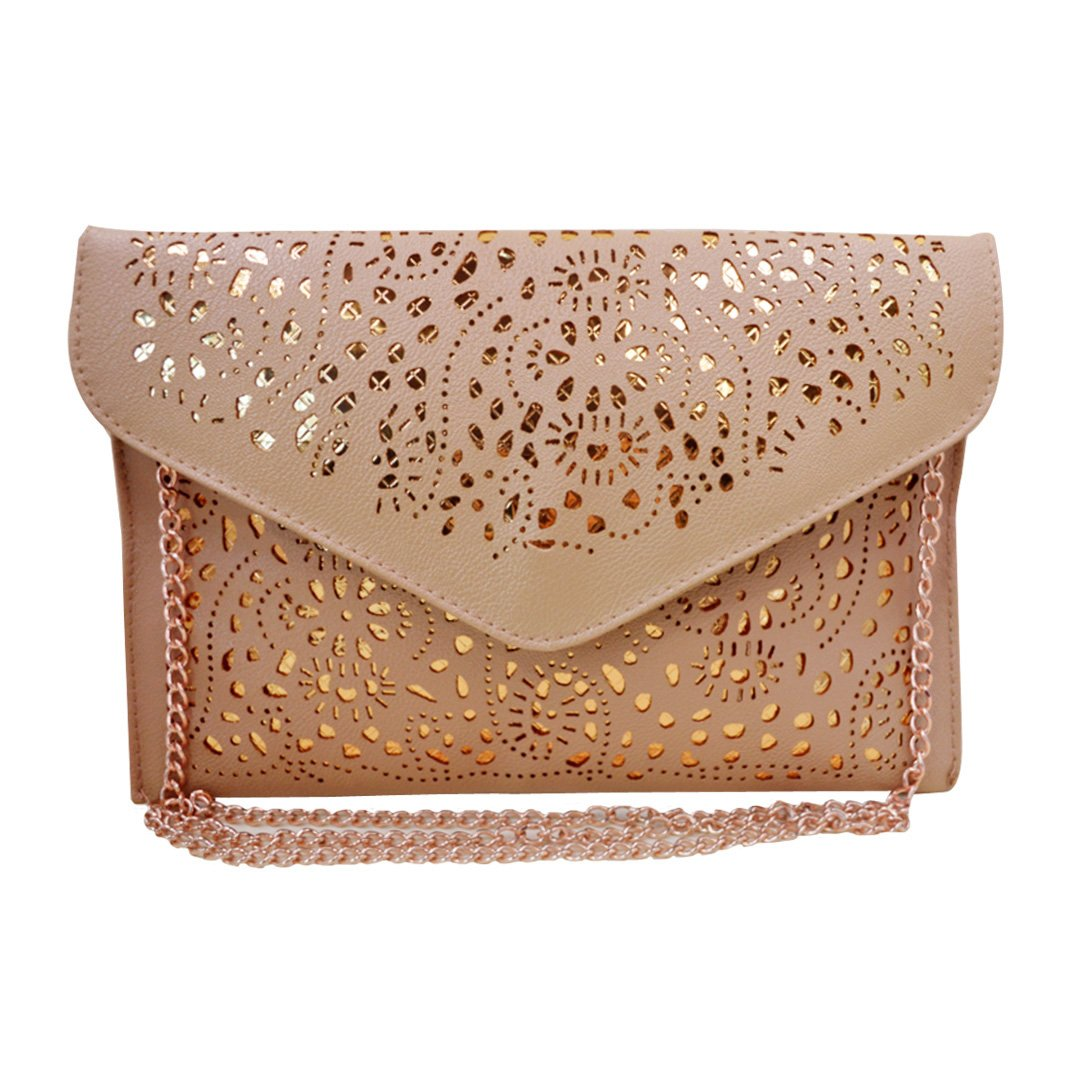Mily Hollow Out Flower Envelop Clutch Chain Tote Shoulder Bag Handbag Beige by Mily (Image #5)