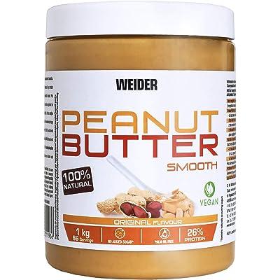 Weider Peanut Butter - 1000 gr,  100% cacahuete triturado, 100% natural, 100% vegano