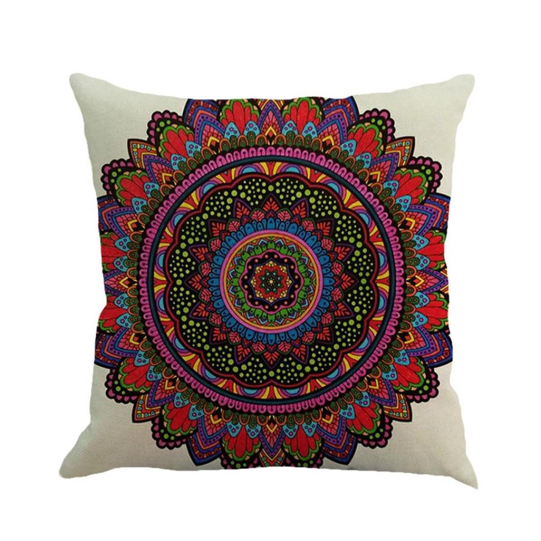 Makaor Pillow Case Geometry Painting Linen Cushion Cover Throw Square Sofa Bed Home Decoration(45cm45cm) (F)