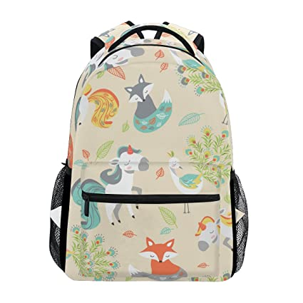 TIZORAX Mochila de Viaje, diseño de Unicornio de Animales de Pavo Real, Mochila Escolar