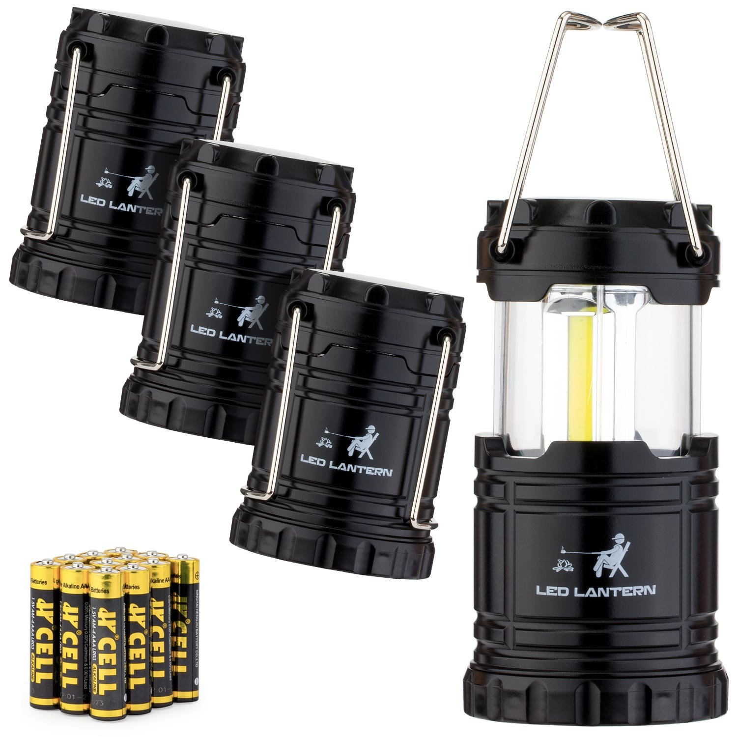 MalloMe LED Camping Lantern Flashlights 4 Pack – Super Bright – 350 Lumen Portable Outdoor Lights with 12 AAA Batteries Black, Collapsible