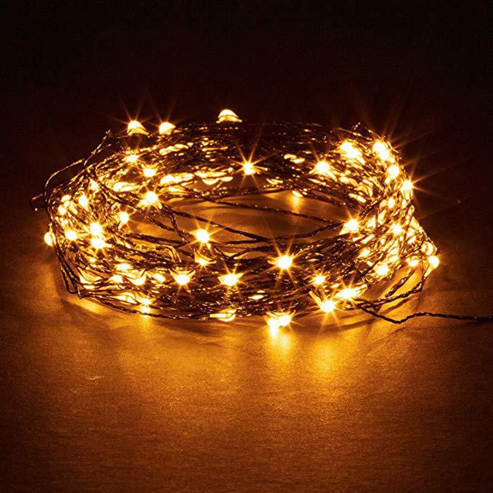 LED Copper Wire Light 10M 100LED Plug In Starry Waterproof Fairy Lights Indoor Outdoor Decoration Lights for Thanksgiving Christmas DIY Decor Lights (Yellow)