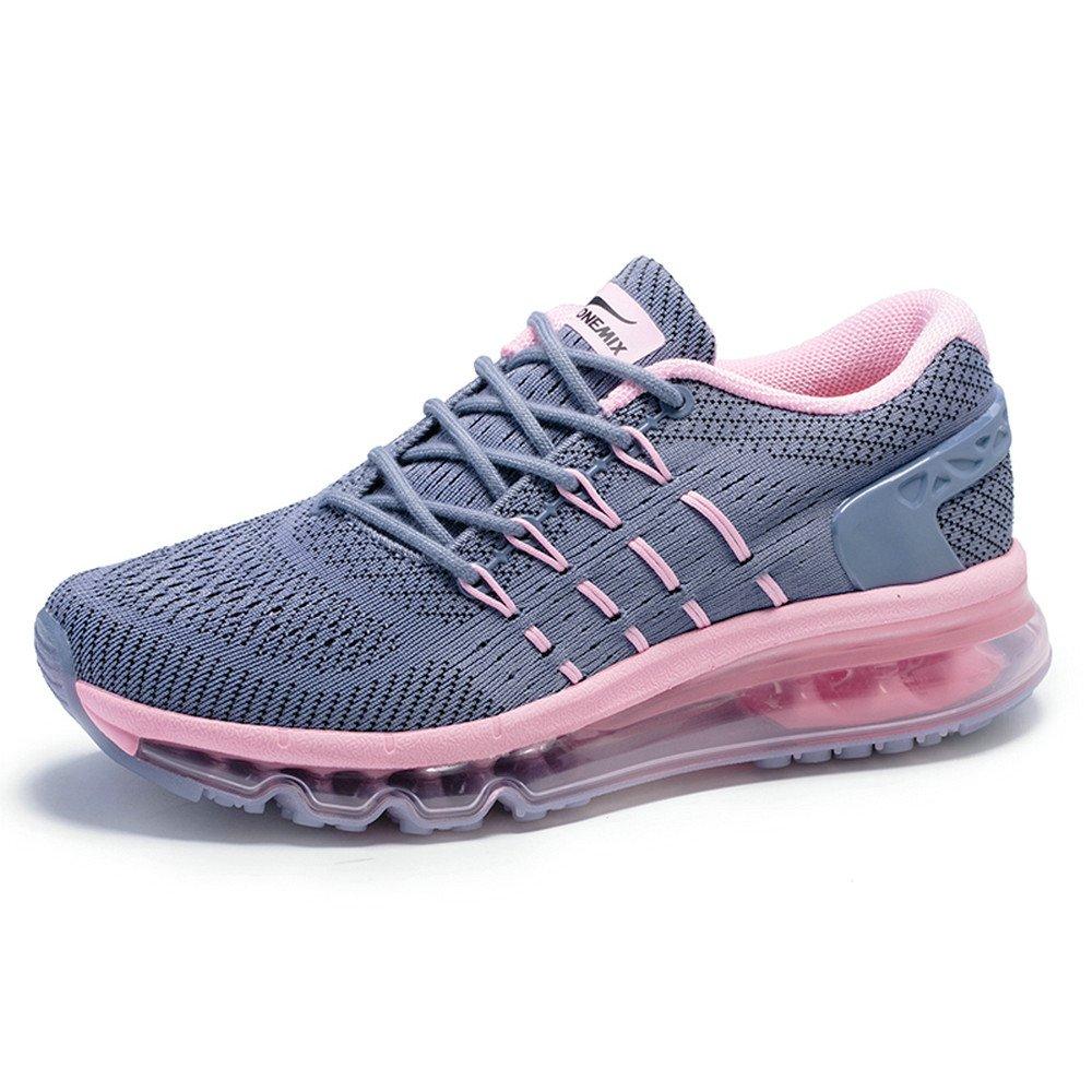 Onemix Hombre Mujer Air Mojadura Atlético Unisex Adulto Respirable Gimnasio Zapatos Para Correr 38 EU Gris rosado
