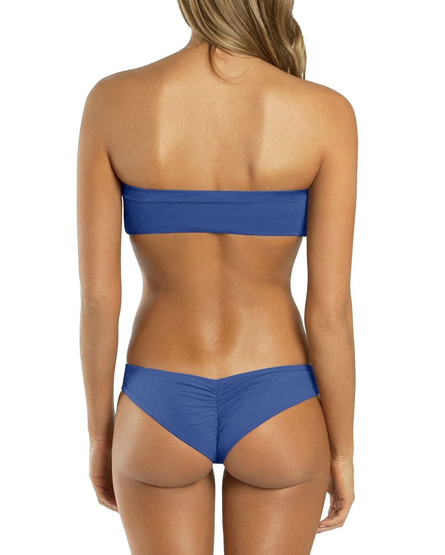 Amazoncom Imily Bela Womens Bandeau Cut Out Bikini Sets Push Up