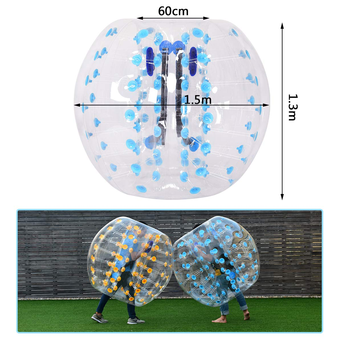 Costzon Inflatable Bumper Soccer Ball, Dia 5ft (1.5m) Giant Human Hamster Bubble Ball, 8mm Thickness Transparent PVC Zorb Ball for Kids, Teens Outdoor Team Gaming Play (Light Blue) by Costzon (Image #3)