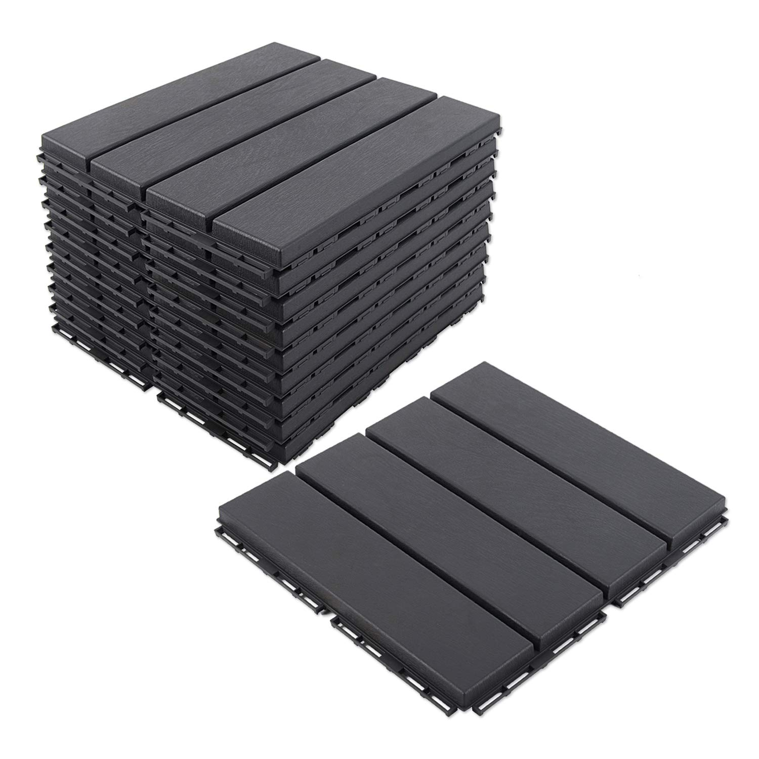 DOMI OUTDOOR LIVING Composite Deck Tiles for Deck and Balcony 9 Pieces One Pack, Dark Grey