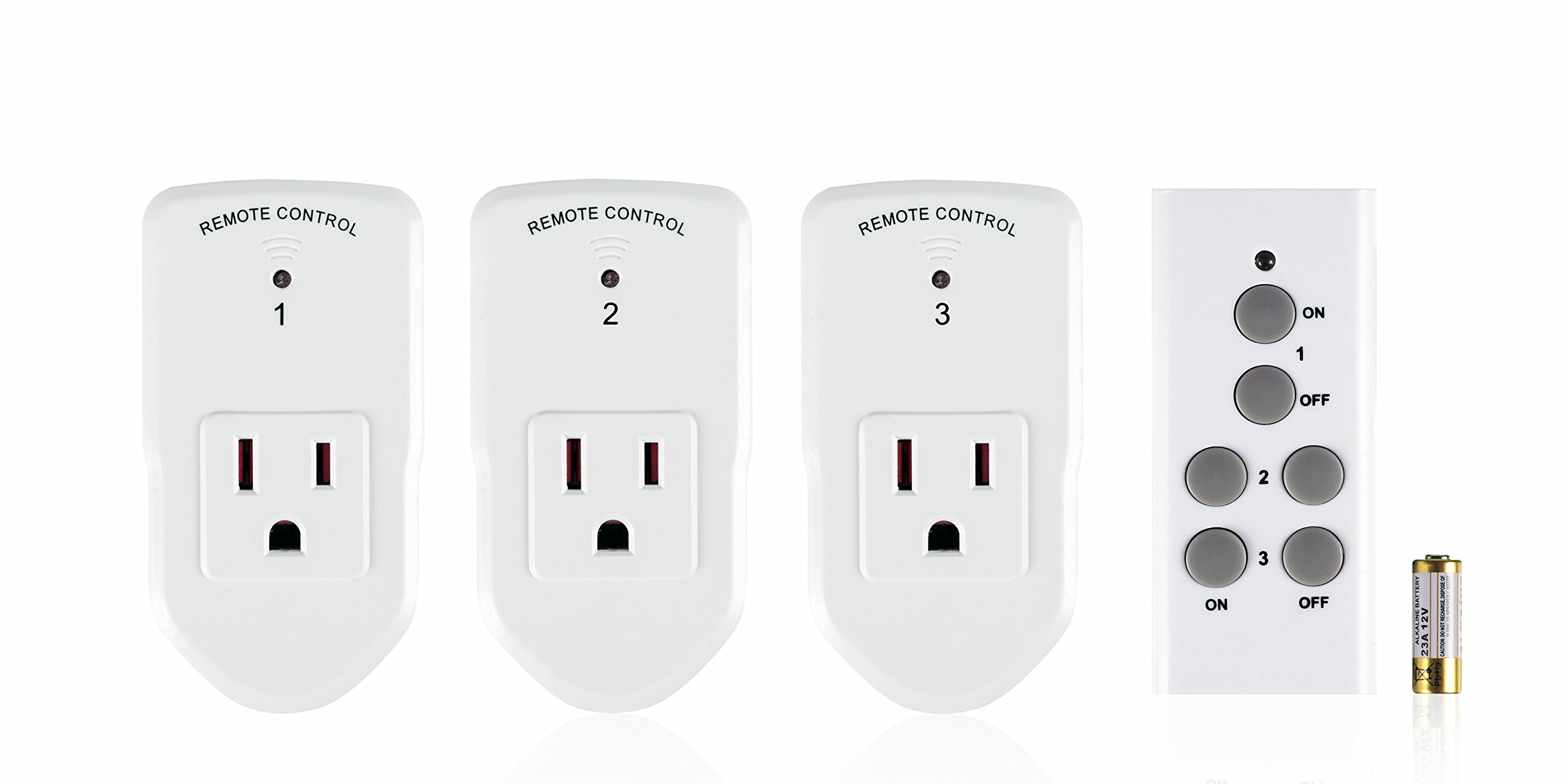 Century Wireless Remote Control Electrical Outlet Switch for Household Appliances, White (Learning Code, 3Rx-1Tx)
