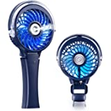 COMLIFE Handheld USB Misting Fan, Mini Rechargeable Battery Operated Fan, Foldable Desk Fan with Personal Cooling Humidifier and Colorful Night Light, Portable Water Spray Fan for Indoor&Outdoor Usage