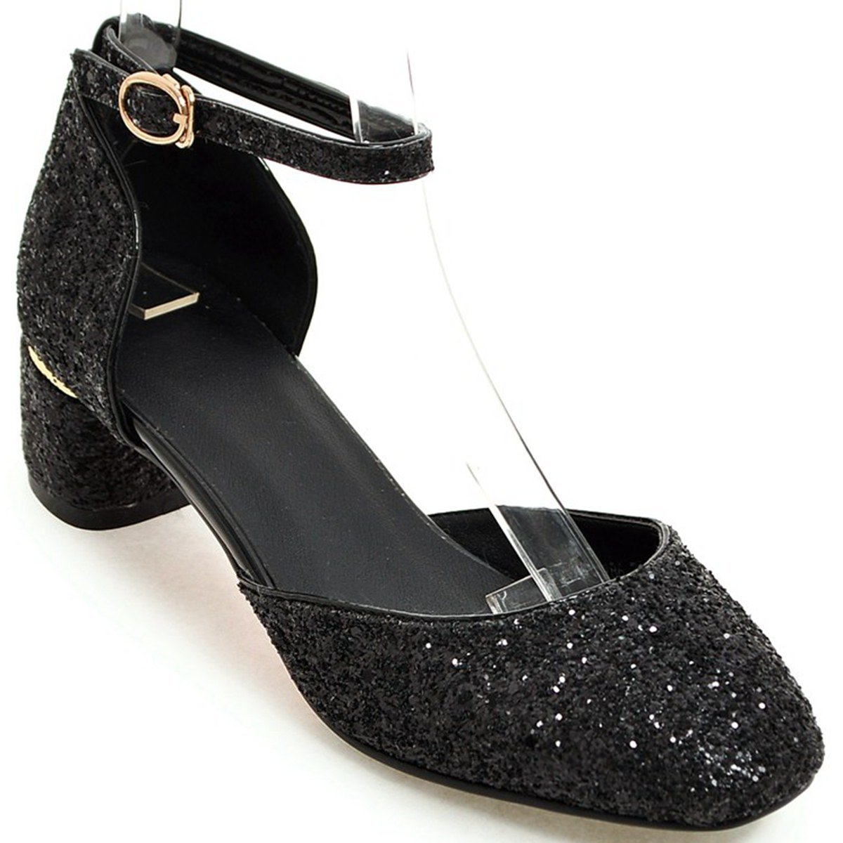 DoraTasia Women's Pointy Toe Glitter Ankle Bling Block Low Heel Ankle Glitter Strap Pumps Party Wedding Dress Shoes 7 M US|Black B079KYMT7H c8b72b