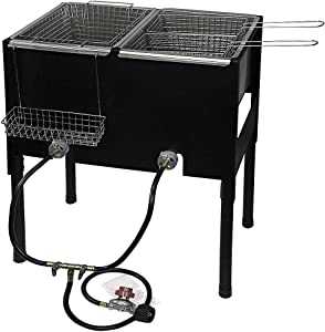 Barton Triple Basket Deep Fryer Dual Burner High-Pressure Propane Fueled Outdoor Cooker Fry Basket Fryer w/Handle