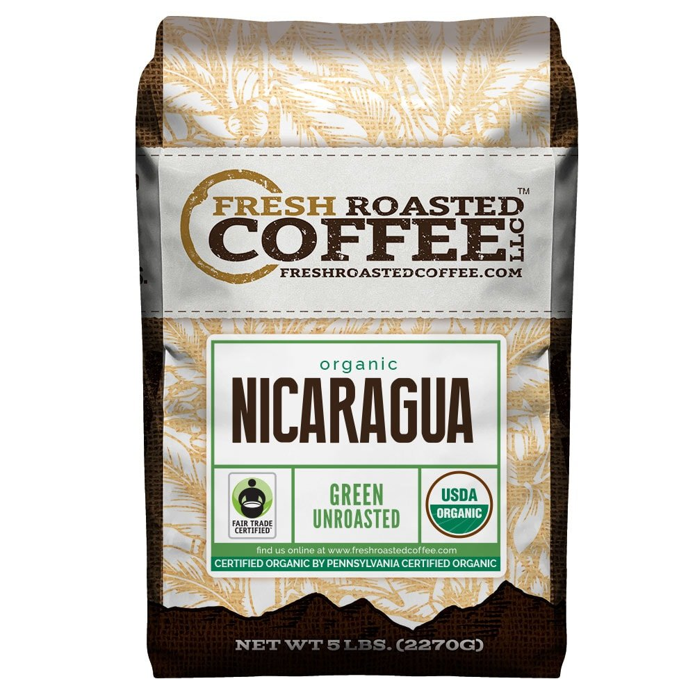 Fresh Roasted Coffee LLC, Green Unroasted Nicaraguan Coffee Beans, Fair Trade, USDA Organic, 5 Pound Bag by FRESH ROASTED COFFEE LLC FRESHROASTEDCOFFEE.COM
