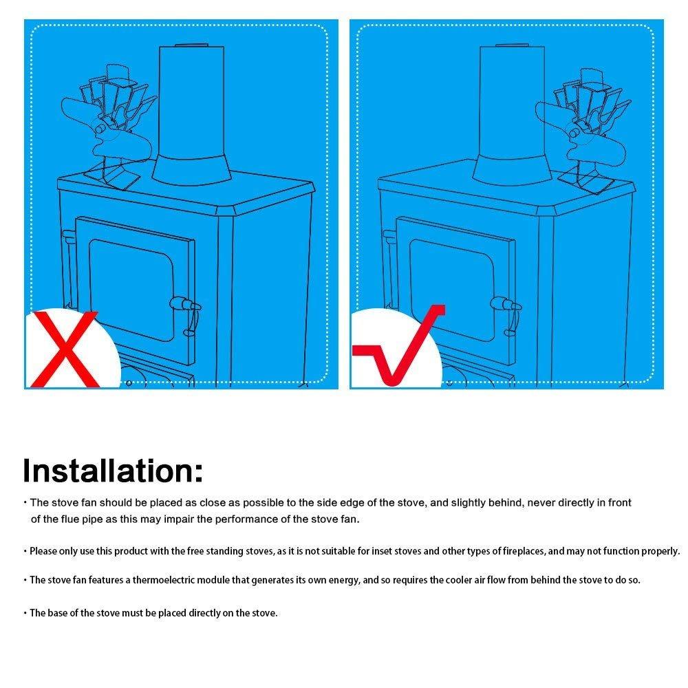 ventilateur de chemin/ée silencieux E-More Ventilateur de po/êle /à bois /à 2 lames aliment/é par la chaleur circulation de chaleur respectueuse de lenvironnement pour foyers