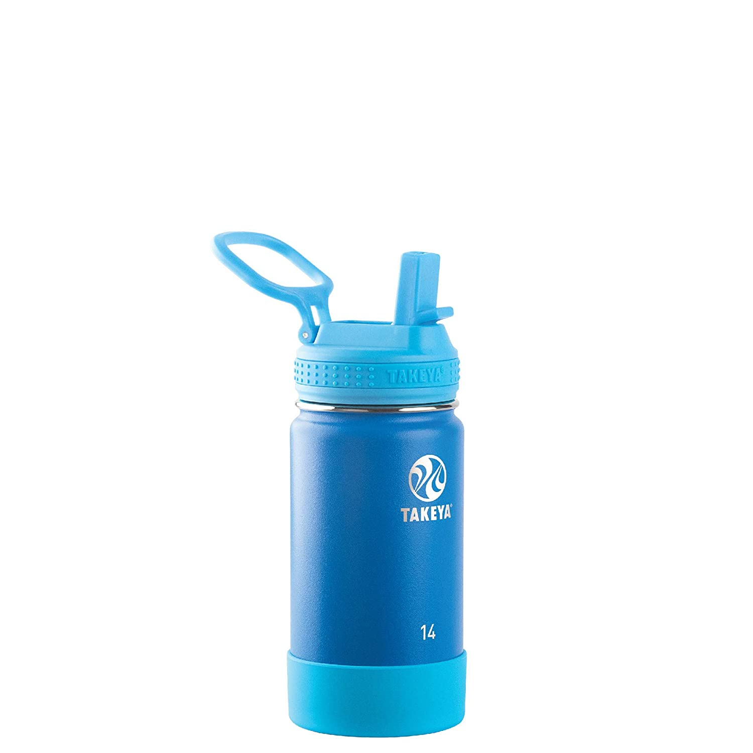 Takeya 51129 Kids Insulated Water Bottle w/Straw Lid, 14 Ounce, Sky