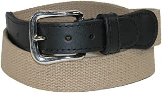 product image for Boston Leather Men's Cotton Web Belt with Leather Tabs