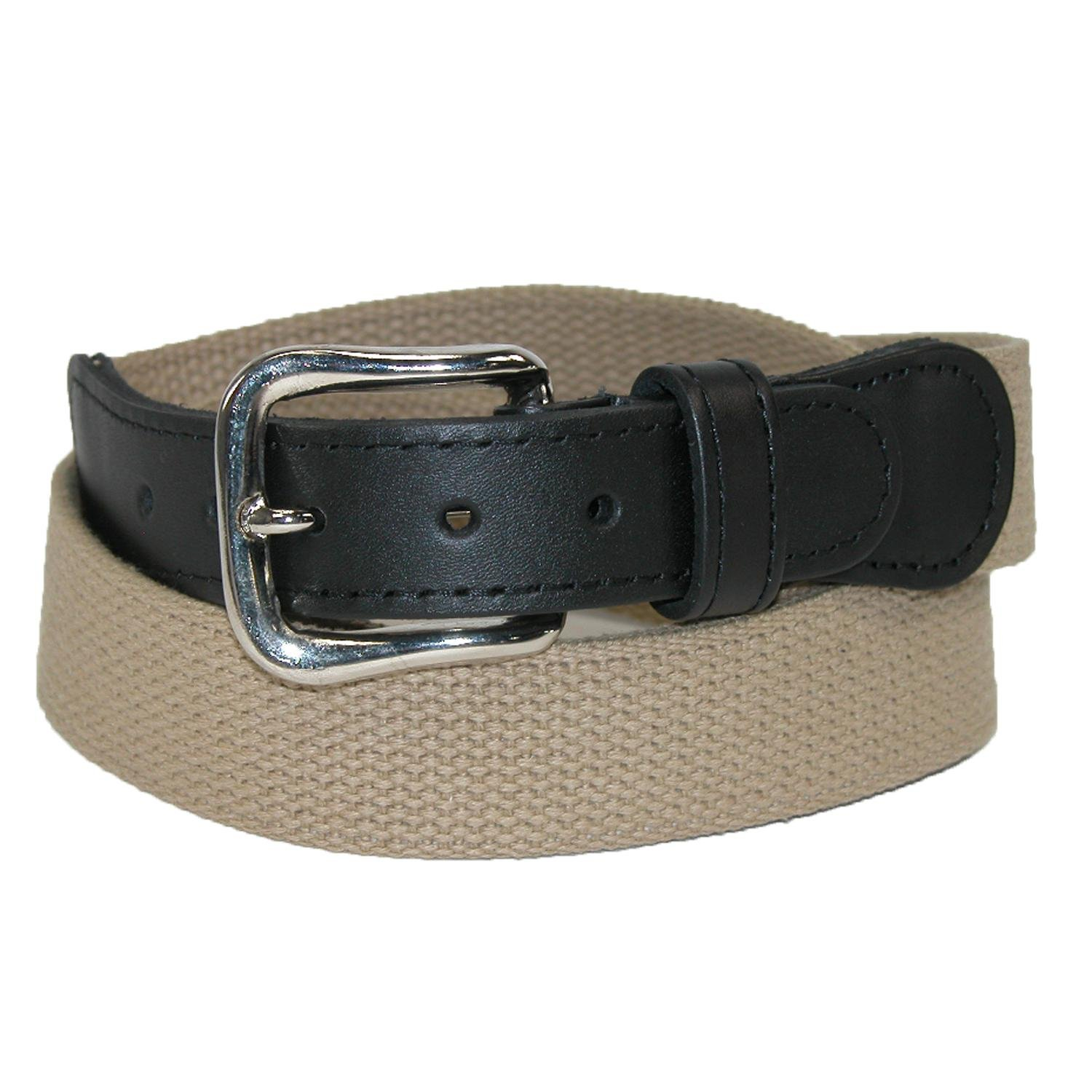 Boston Leather Men's Cotton Web Belt with Leather Tabs, 38, Tan