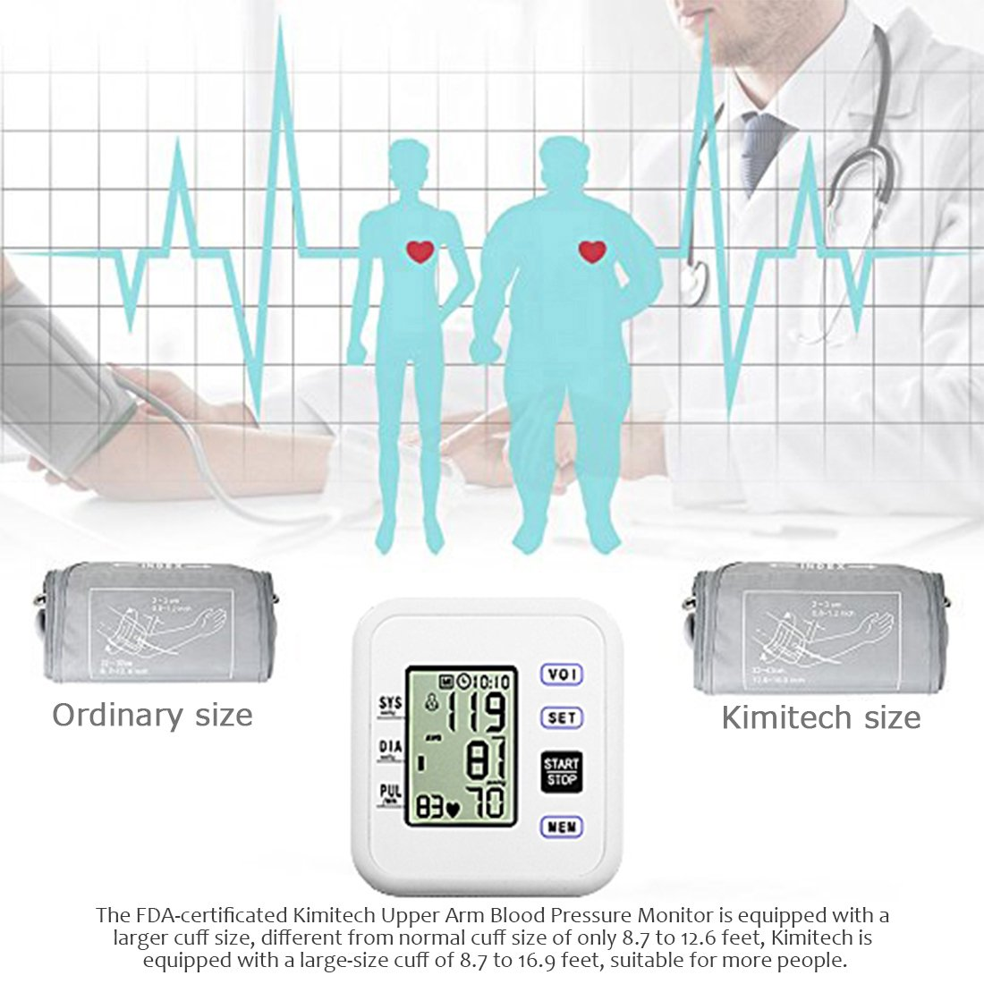 Amazon.com: Upper Arm Blood Pressure Monitor, WEILIGU Digital Voice Smart BP Meter with Large Display Cuff 8.7