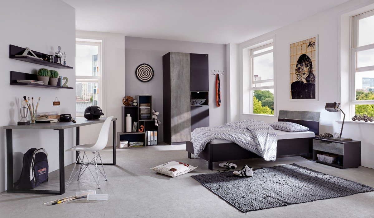 dreams4home jugendzimmer set 39 mats 39 bett 90x200 cm ohne. Black Bedroom Furniture Sets. Home Design Ideas