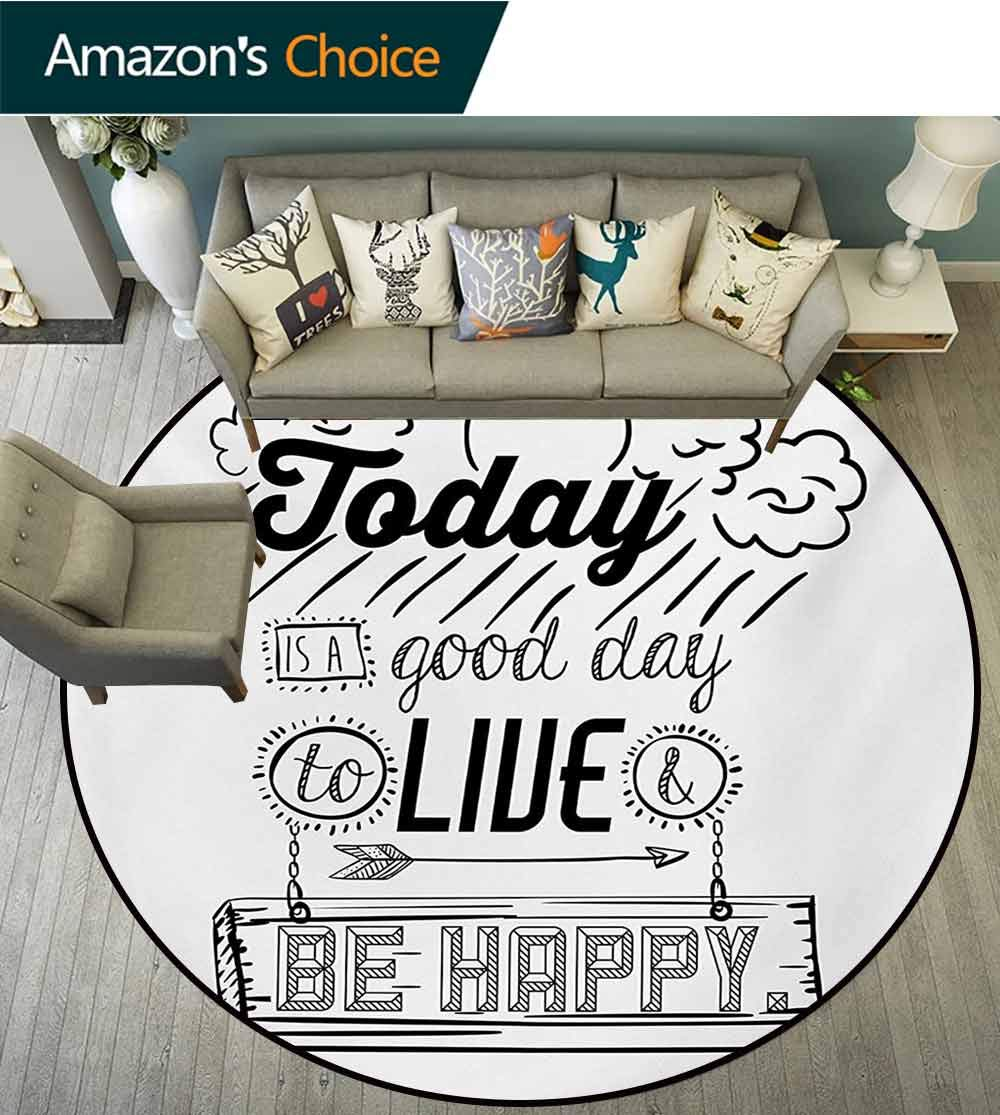 RUGSMAT Quotes Modern Machine Round Bath Mat,Today is A Good Day to Live Be Happy Enjoy Reminding Gratitude Inspire Vision Non-Slip No-Shedding Kitchen Soft Floor Mat,Round-71 Inch by RUGSMAT (Image #2)