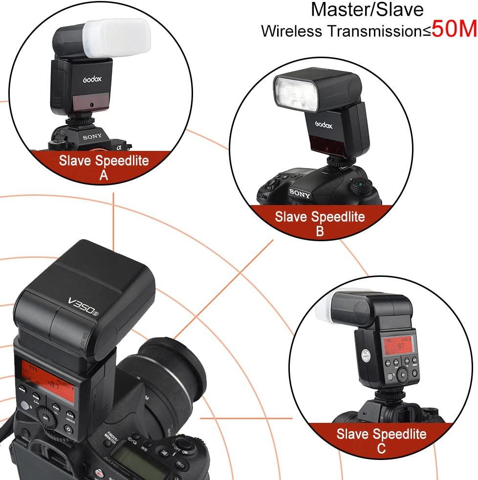 for Sony A7RIII A7RII A7R A77II RX10 A9 1//1-1//128 Speedlite Flash 2.4G GN36 TTL 1//8000s HSS with Li-ion Rechargeable Battery 500 Full Power Camera Flash 22 Steps of Power Outpout Godox V350S Sony