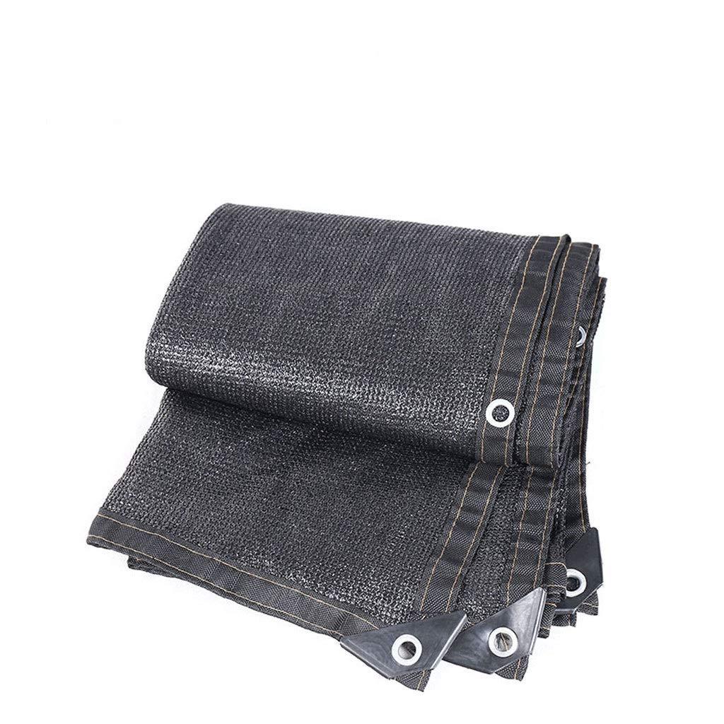 遮光網 グロメットガーデンフラワープラントシェーディングストリップ、日焼け止めシェード布耐紫外線屋外で黒シェード布テープエッジ 縦断勾配 E (Size : 6x6m)  6x6m