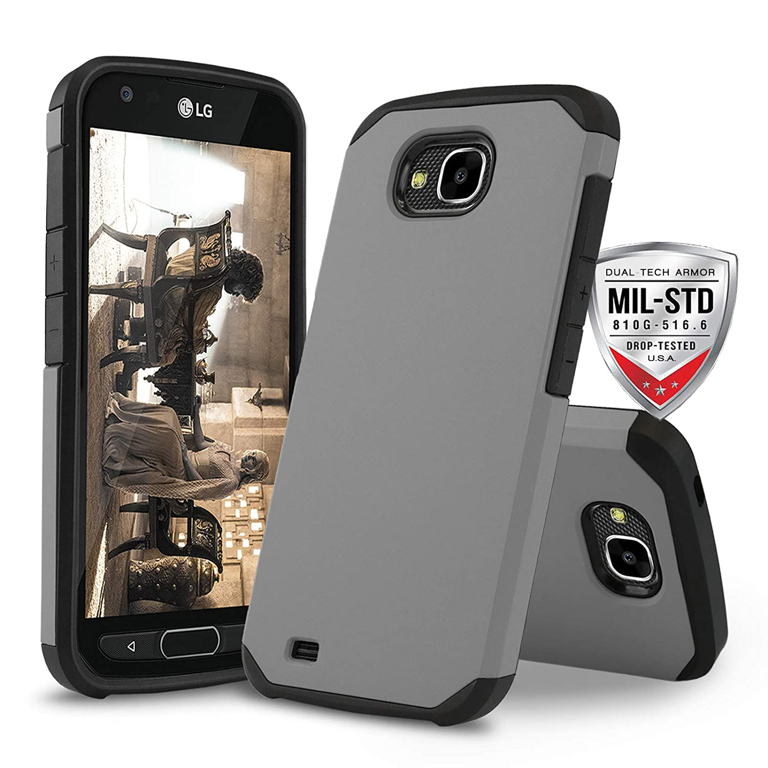 official photos 1c942 b8be6 Phone Case for [LG X Venture (AT&T, US Cellular)], [DuoTEK Series][Gray]  Shockproof Hybrid Cover [Impact Resistant][Defender] Cases for LG X Venture  ...