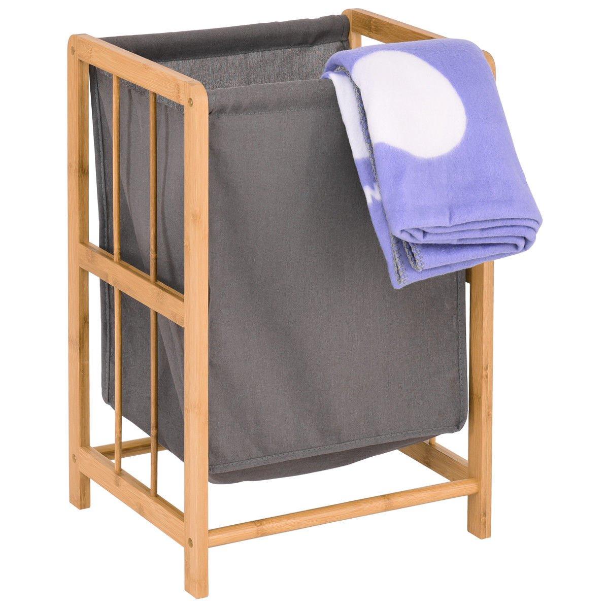 Laundry Hamper竹フレーム耐久性布バッグソーターストレージバスケットBin B079RGTXR8
