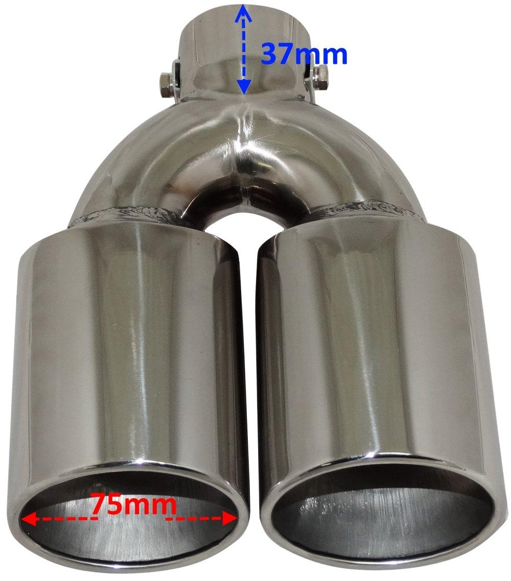 AERZETIX: Embellecedor de tubo de escape, de doble de salida, cromado, montaje sin soldadura: Amazon.es: Coche y moto