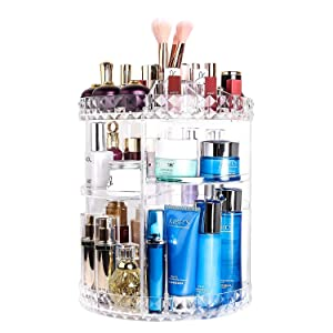 360 Lazy Susan Makeup Organizer, Rotating Bathroom Shelves Countertop Carousel Organizer Cosmetic Storage, Clear