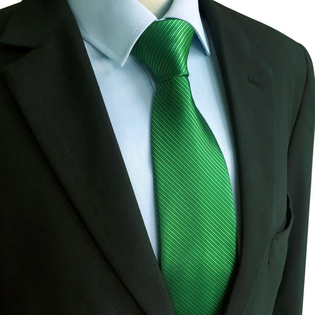 SHLAX&WING Solid Color Green Necktie for Men Business Wedding New Tie Set Long by S&W SHLAX&WING (Image #5)