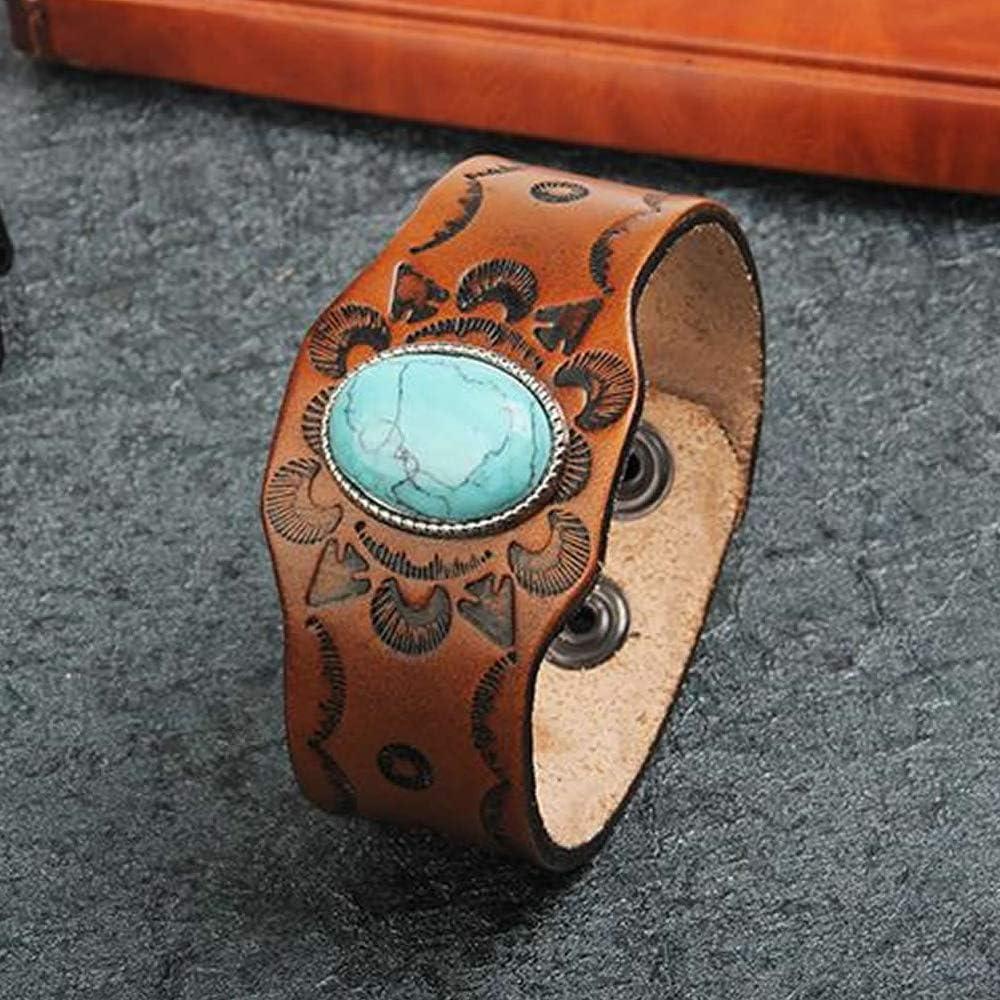 Deux Bracelets Manchettes en Cuir avec t/ête de Loup et Turquoise Bracelet Cuir pour Homme et Femme. Taille Ajustable et agr/éable /à Porter