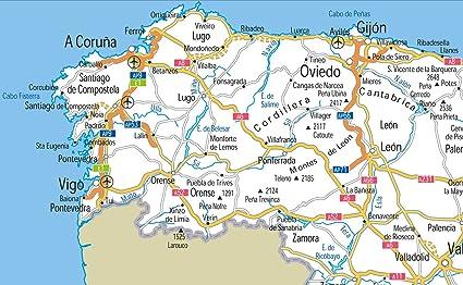 España carreteras mapa – Vinilo – A0 tamaño 84,1 x 118.9 cm: Amazon.es: Oficina y papelería