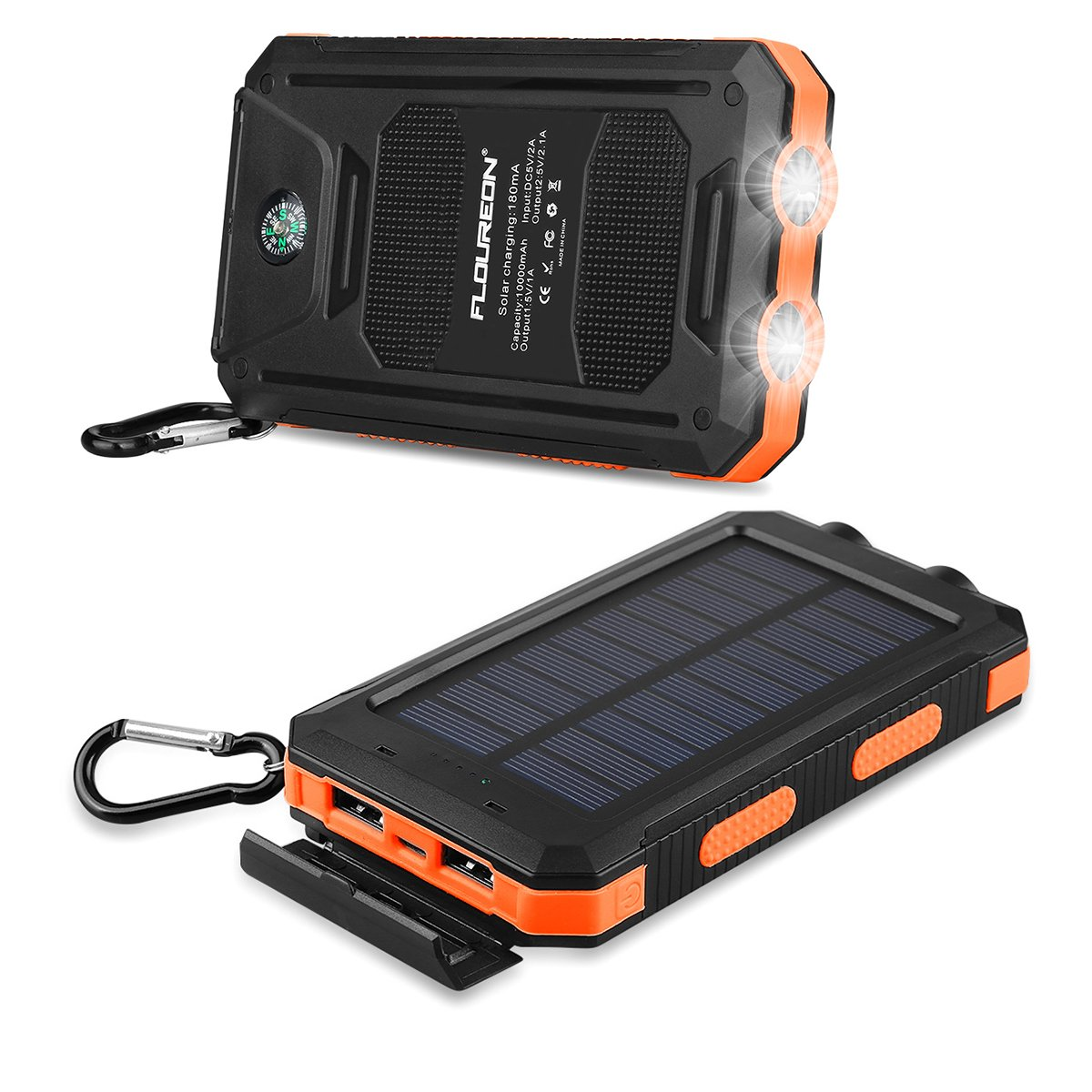 FLOUREON 10,000mAh Solar Charger Power Bank Portable Solar Powered Phone Charger with Dual LED Flashlight Super Bright External Battery Charger with Dual 1.0A/2.1A for iPhone 8/ 8 Plus/ X/ 7/ 6s, Samsung Galaxy S8/ S7/ S6 and More (Orange)