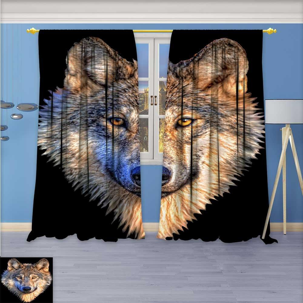 SCOCICI1588 Room Darkening Rod Pocket Window Curtains, Animal animal animal carving, Set of Two Panels, W84'' x L108'' Pair