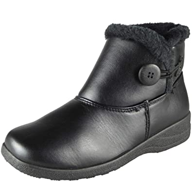 Loud Look New Womens Ladies Flat Ankle Faux Fur Comfy Warm Winter Low Heel Boots  Shoes 1775af4b8