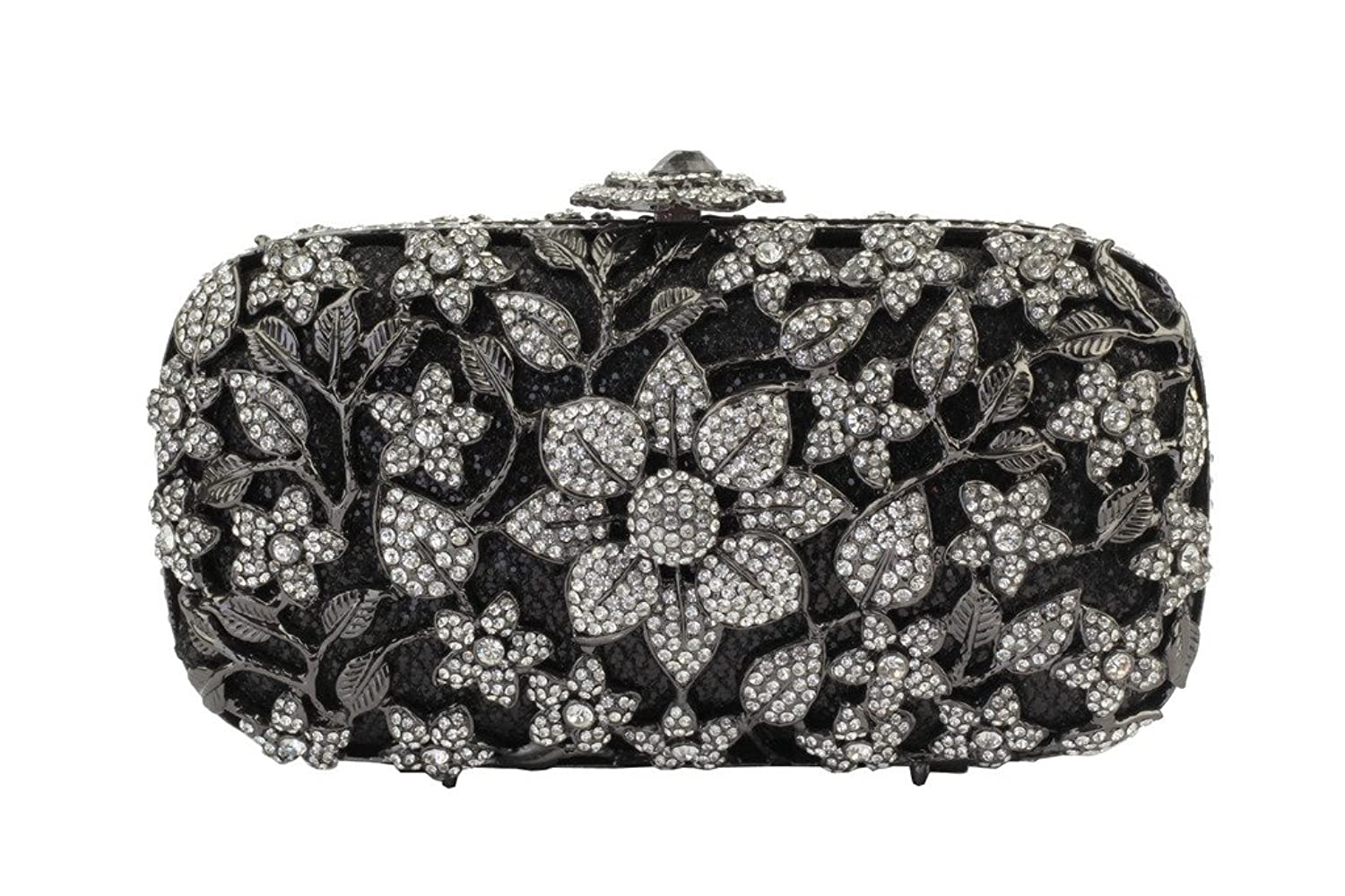 Yilongsheng Women's Glittery Wisteria Flowers Evening Clutches Bags with Shiny Rhinestones(Black)