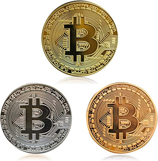 3Pcs Bitcoin Coin - Gold Silver and Bronze Physical Blockchain Cryptocurrency in Protective Collectable Gift | Featuring Original Commemorative Tokens | Chase Coin | BTC Cryptocurrency