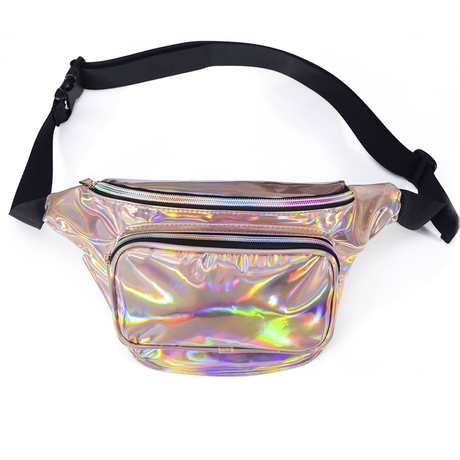 LEADO Holographic Fanny Pack for Women, Fashion Waist Pack for Rave, Festival, Party (Gold)