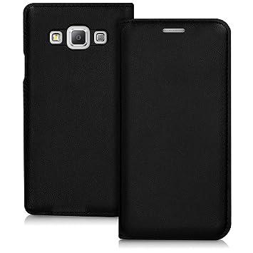 kwmobile Funda para Samsung Galaxy A3 (2015) - Carcasa con tapa tipo libro para móvil - Case protector en negro