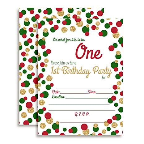 amazon com red green and gold polka dot christmas 1st birthday