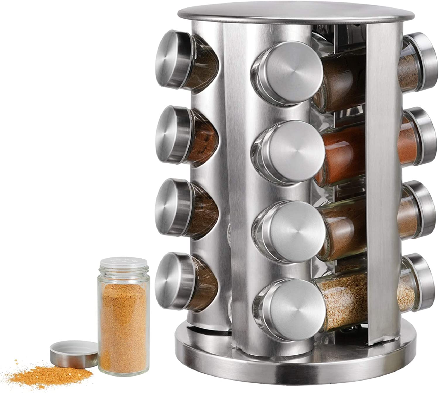 Spice Rack, kitchen rack with 16 Set of Spice Jars, Round Stainless Steel Spice Rack, Revolving Countertop Spice Rack tower, Carousel Seasoning Storage Organization for Home & Kitchen