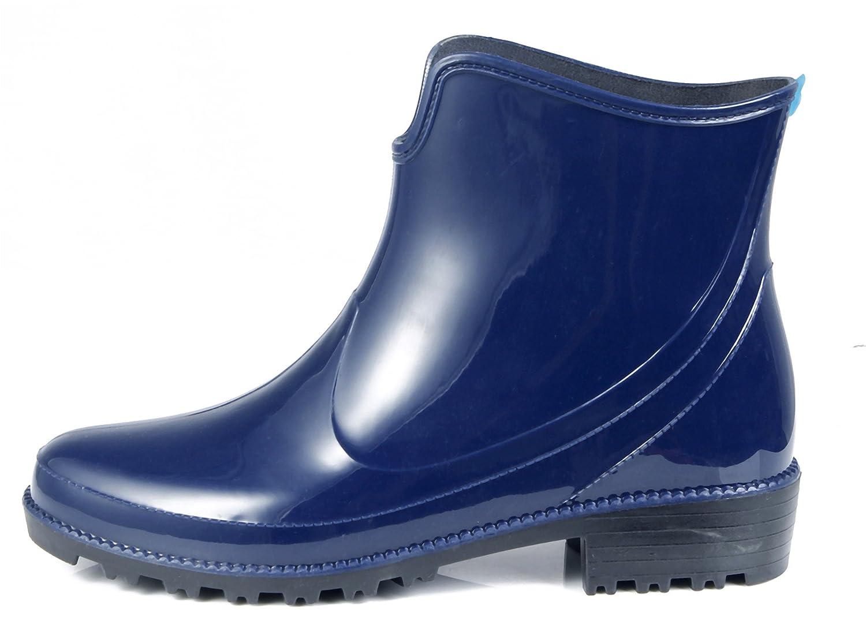 AgeeMi Shoes Slip On Rund Zehe Unisex Erwachsene Halbschaft Gummistiefel,EuY10 Schwarz 38