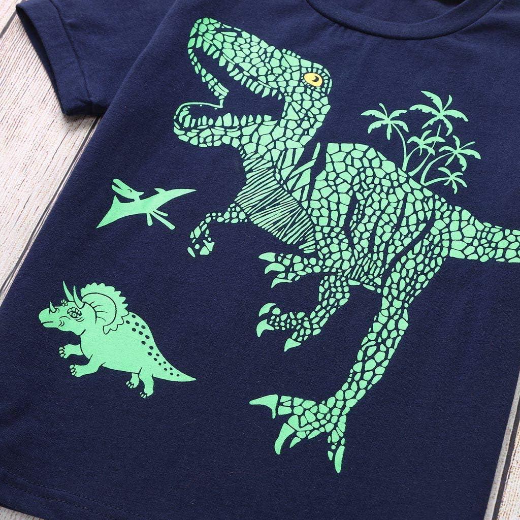 MORETIME 2020 Boys Pyjamas Sets Dinosaur Cotton Pjs Pajama Toddler Kids Sleepwear Short Sleeve Tops T Shirts /& Pants Nightwear Children Outfit Clothing Suit for Age 1-7 Years