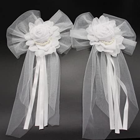 2 Pcs Silk Ribbon Flower With Pearl For Wedding Party Decoration
