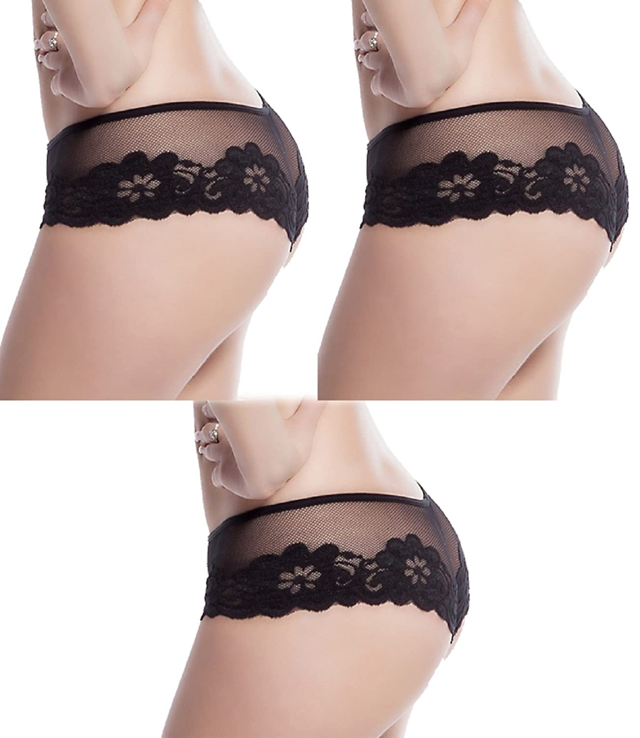 Slocyclub Women's Lace Mesh Boyshort Panty Lady Bottom Underwear